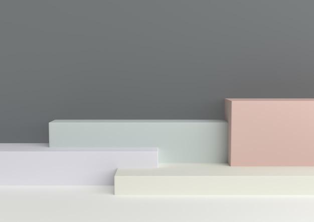Rappresentazione amorosa pastello 3d di forma geometrica minima. Foto Premium