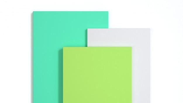 Rappresentazione astratta del quadrato bianco 3d di verde del fondo 3d Foto Premium
