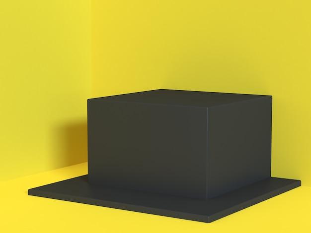 Rappresentazione astratta gialla gialla minima 3d del cubo del quadrato nero del pavimento-parete dell'angolo di scena Foto Premium