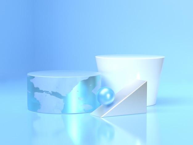 Rappresentazione blu e bianca di riflessione 3d del pavimento del cerchio Foto Premium