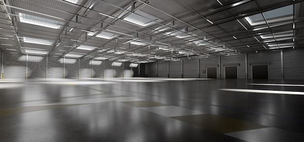 Rappresentazione del fondo 3d delle azione delle merci del magazzino Foto Premium