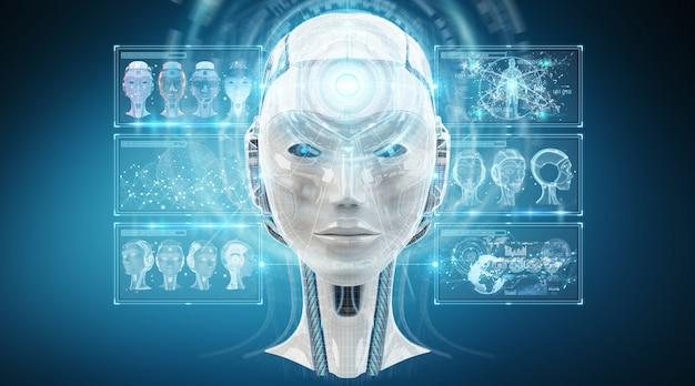 Rappresentazione dell'interfaccia 3d del cyborg di intelligenza artificiale digitale Foto Premium