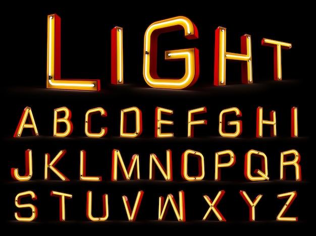 Rappresentazione di alfabeto 3d della luce al neon su fondo nero Foto Premium