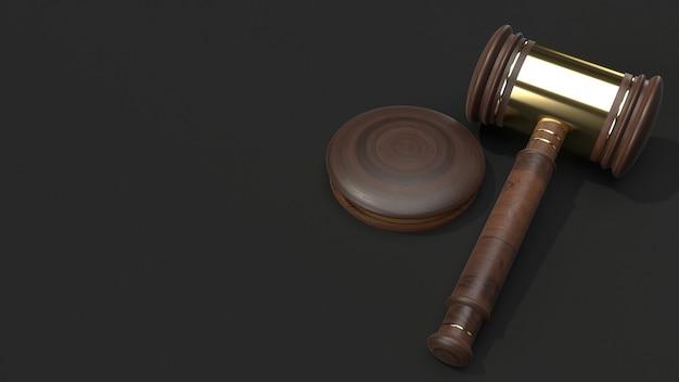 Rappresentazione di legno 3d del martello per la legge. Foto Premium