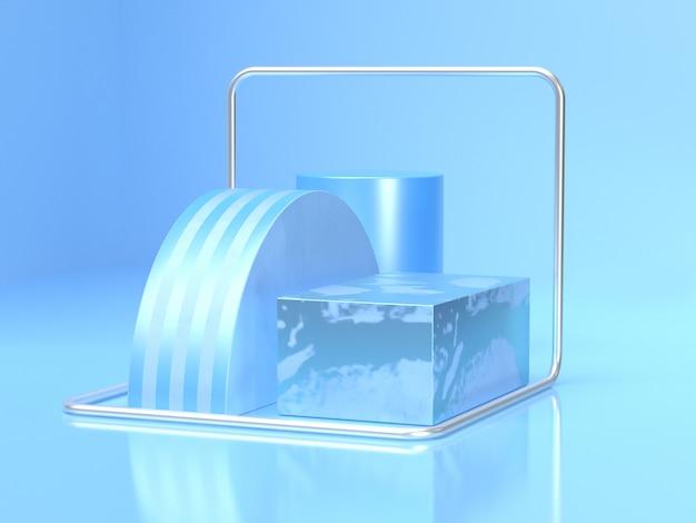 Rappresentazione geometrica 3d della scena del cilindro del quadrato del punto di semicerchio blu astratto Foto Premium