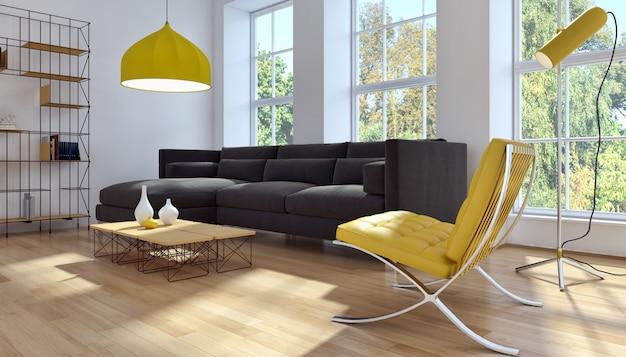 Rappresentazione moderna del salone 3d Foto Premium