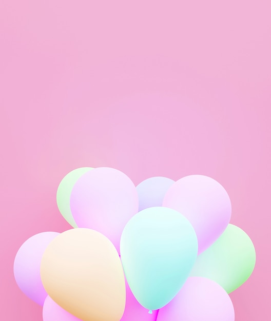 Rappresentazione pastello di amore 3d del fondo del pallone. Foto Premium
