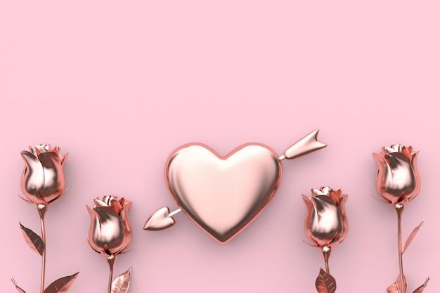 Rappresentazione rosa di concetto 3d del biglietto di s. valentino del fondo della rosa rosa astratta della freccia e del cuore Foto Premium