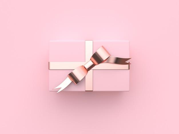 Rappresentazione rosa di concetto 3d del nuovo anno di festa di natale del contenitore di regalo Foto Premium