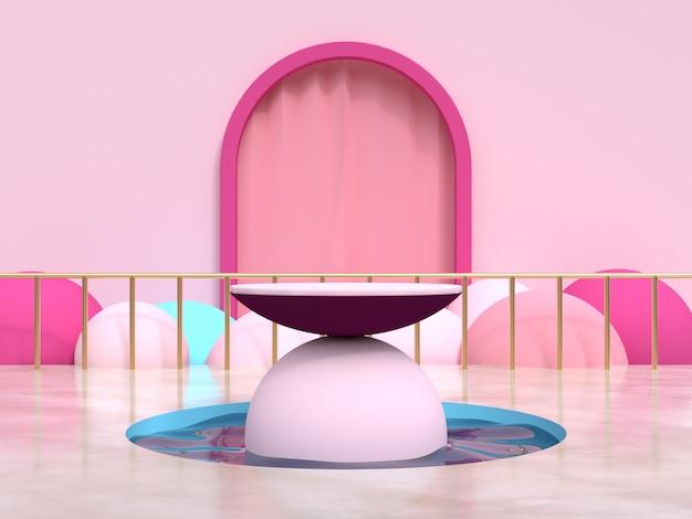 Rappresentazione stabilita 3d del podio dello stagno di acqua della scena geometrica rosa della tenda della struttura Foto Premium