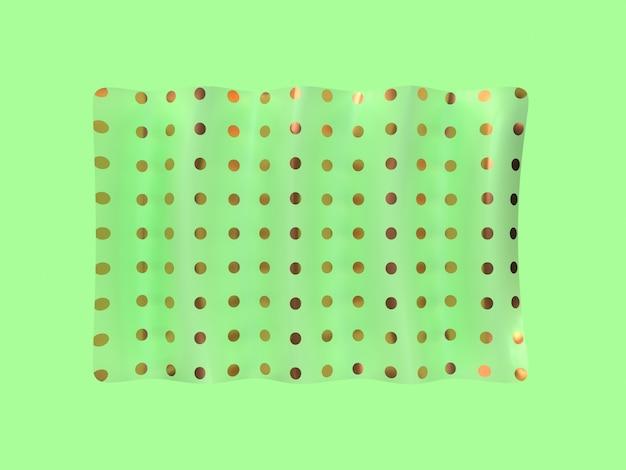 Rappresentazione verde minima di levitazione 3d di forma quadrata di scena Foto Premium