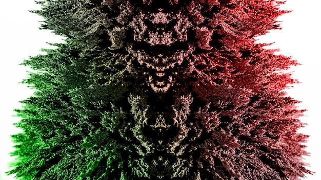 Rasatura di metallo magnetico verde e rosso illuminato su sfondo bianco Foto Gratuite