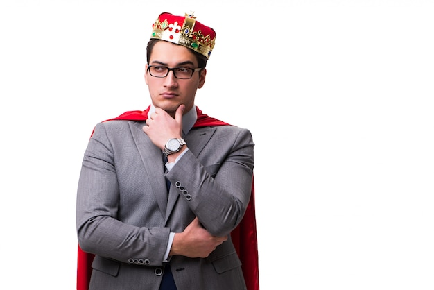 Re imprenditore che indossa la copertina rossa Foto Premium