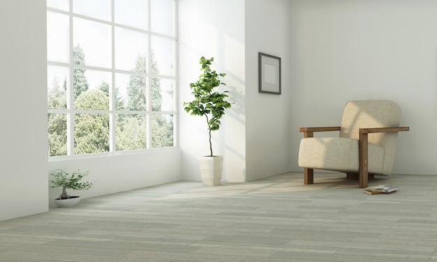 Realistica idea neutra di progettazione del salone con la parete bianca Foto Premium