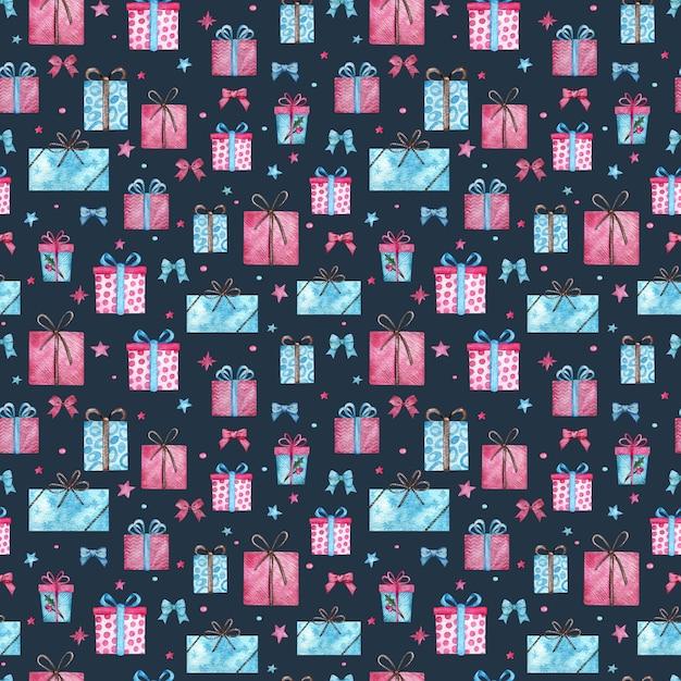 Regali di natale senza motivo. illustrazione dell'acquerello dei contenitori di regalo rosa e blu con le stelle su fondo blu. Foto Premium