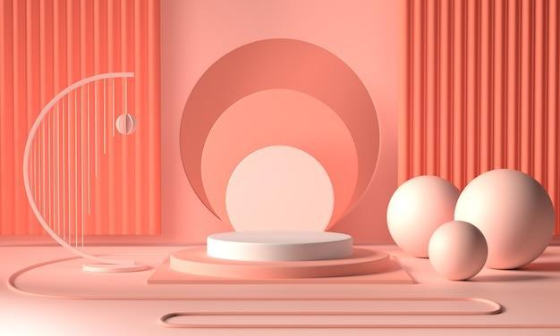 Renda l'immagine dell'esposizione o della vetrina geometrica astratta del podio di colore rosa Foto Premium