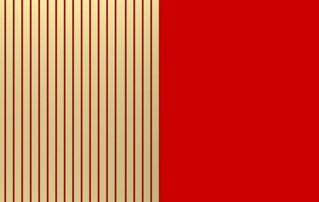 Rendering 3d. barre parallele dorate lussuose sul fondo rosso della parete. Foto Premium