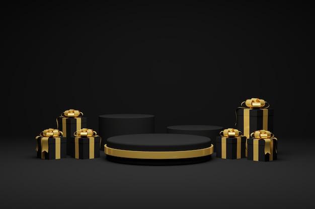 Rendering 3d confezioni regalo e nastro sfondo scuro podio. celebrazione di natale e felice anno nuovo. Foto Premium