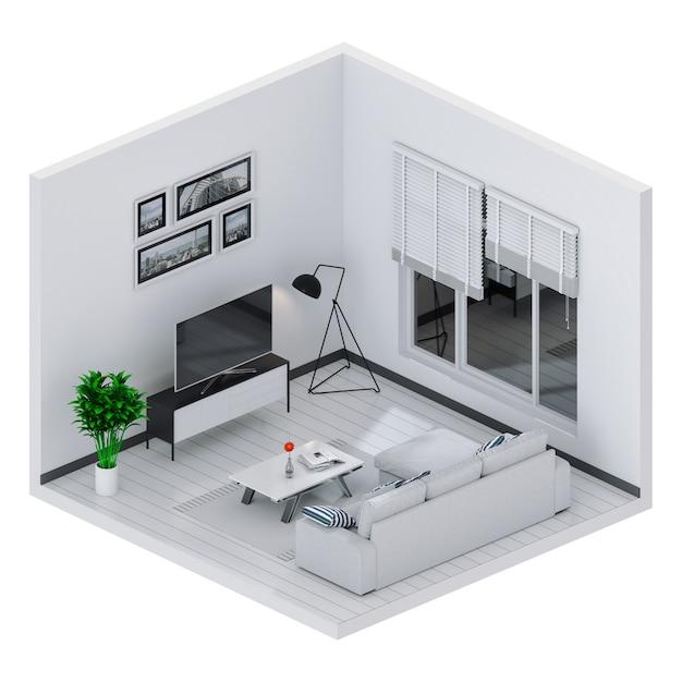 Rendering 3d del salotto interno con smart tv Foto Premium