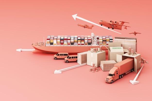 Rendering 3d della scatola della cassa circondata da scatole di cartone, una nave portacontainer, un piano di volo, un'auto, un furgone e un camion Foto Premium