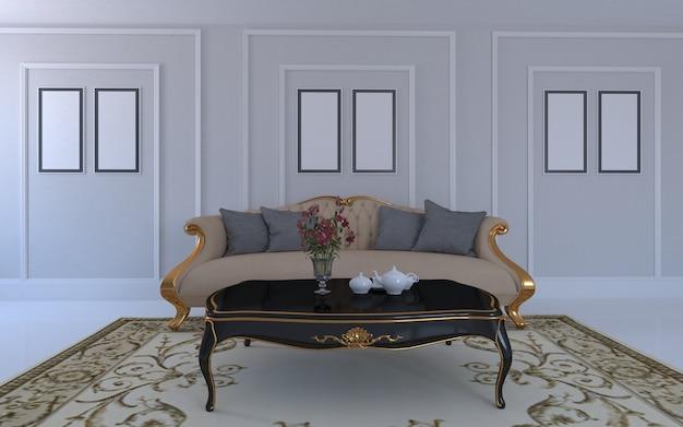 Rendering 3d di interni del moderno salotto con divano - divano e tavolo Foto Premium