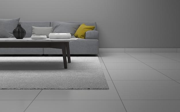 Rendering 3d di interni del salotto moderno con divano - divano e tavolo Foto Premium