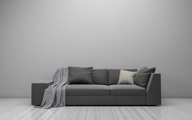 Rendering 3d di interni del salotto moderno con divano, divano e tavolo Foto Premium