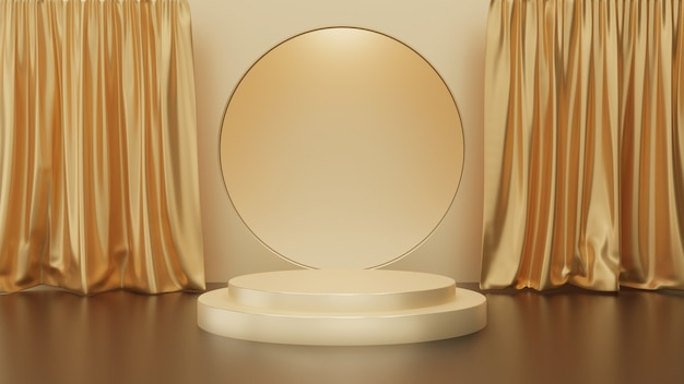 Rendering 3d di passi piedistallo d'oro con tenda su sfondo oro, fase del cerchio d'oro, concetto minimo astratto, spazio vuoto, design semplice e pulito, modello minimalista di lusso Foto Premium