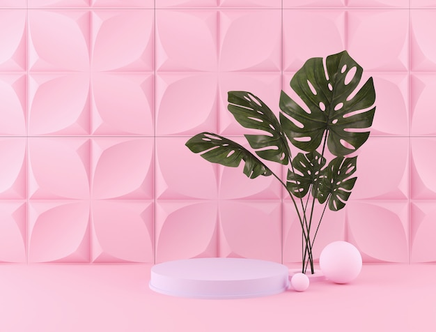 Rendering 3d di sfondo di colore pastello con un podio di design per la visualizzazione in scena in stile minimalista. Foto Premium