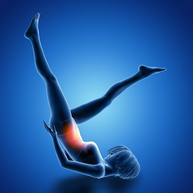 Rendering 3d di una figura femminile sulla schiena facendo esercizi per le gambe con i muscoli utilizzati evidenziati Foto Gratuite