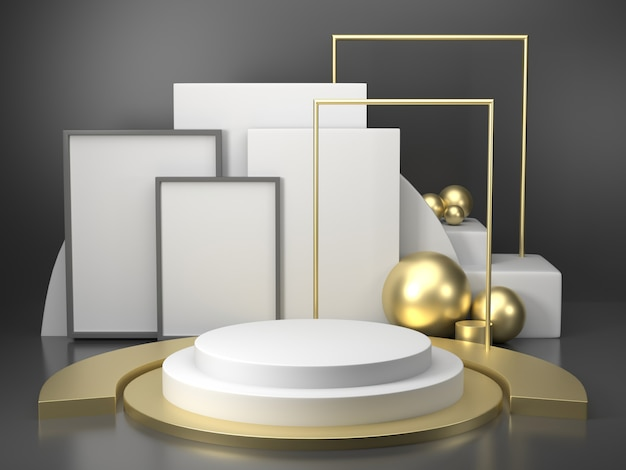Rendering 3d geometria del podio nero con elementi in oro. podio vuoto astratto forma geometrica. composizione minima nell'estratto del pavimento di punto del quadrato di scena Foto Premium