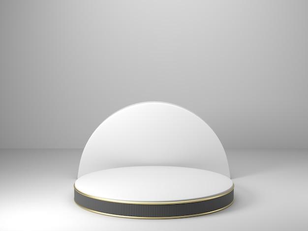 Rendering 3d, geometrico astratto, podio a cilindro, forme primitive minimaliste, modello moderno, modello in bianco, griglia in metallo dorato, maglia, vetrina vuota, esposizione del negozio Foto Premium