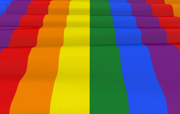 Rendering 3d. lgbt rainbow bandiera a colori Foto Premium