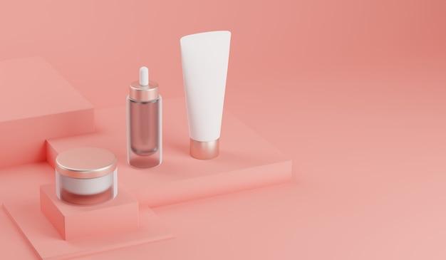 Rendering 3d mock up pacchetto cosmetico per la cura della pelle. Foto Premium