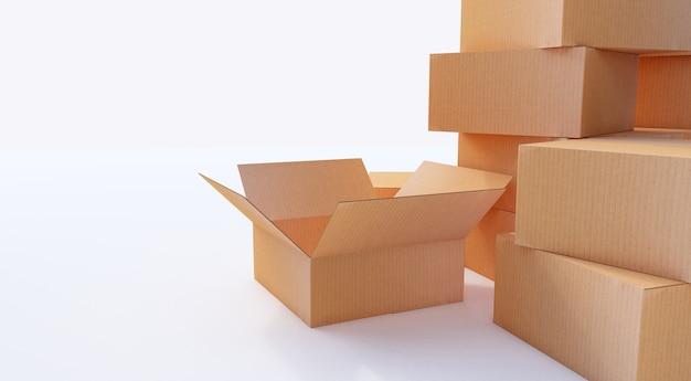 Rendering 3d. mucchio di scatole di cartone isolato su bianco. Foto Premium