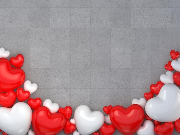 Pavimento Rosso E Bianco : Rendering d san valentino a forma di cuore rosso e bianco sul
