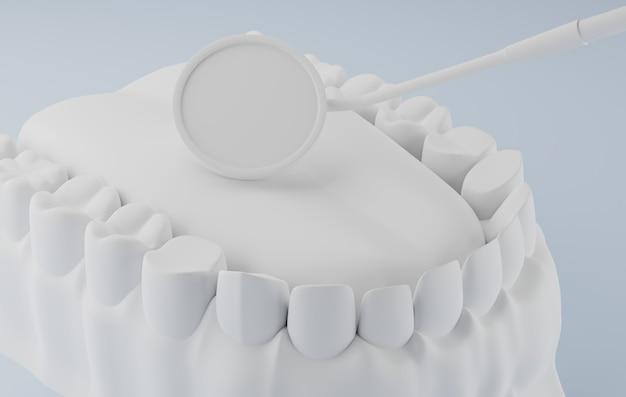 Rendering 3d specchio dentale e dentale bianco. Foto Premium