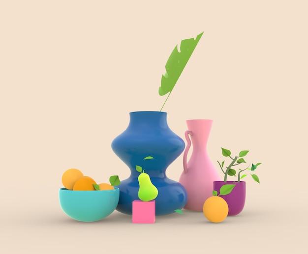 Rendering 3d still life vses con laves e frutti e piante in vaso illusration Foto Premium