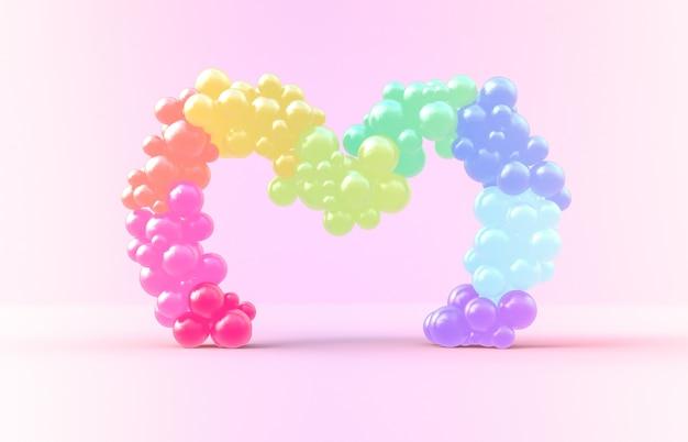 Rendering 3d. struttura dolce del cuore dell'arcobaleno con il contesto dei balllions della caramella Foto Premium
