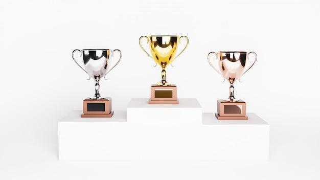 Rendering 3d. trofei d'oro, d'argento e di bronzo su podio bianco. Foto Premium