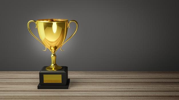 Rendering 3d. trofeo dell'oro sopra la vecchia tavola di legno davanti alla lavagna. Foto Premium