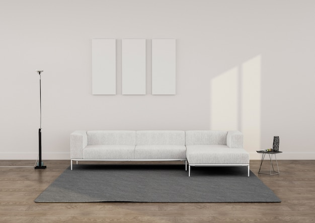 Rendering minimalista lounge Foto Premium
