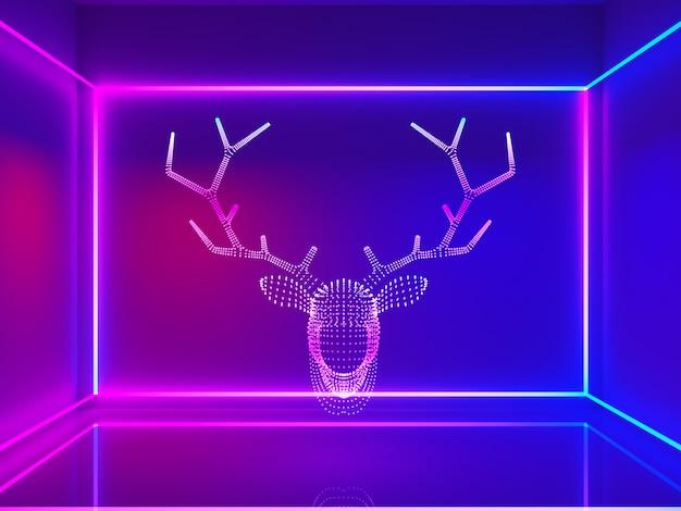 Renna testa neon con linea rettangolare Foto Premium