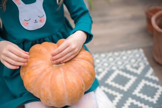 Resta a casa. ragazze e zucche per halloween. giardinaggio domestico nella serra. Foto Premium