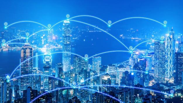 Rete di comunicazione smart city e internet delle cose per smart city e big data Foto Premium