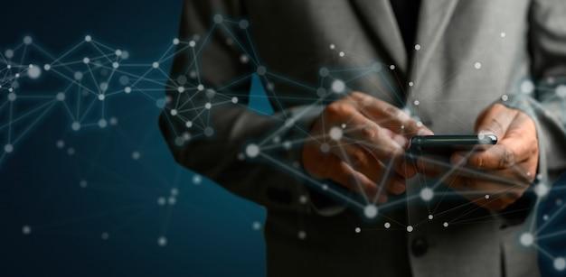 Rete e dati cliente connessione cloud basato web man rete sfera rendering 3d Foto Premium