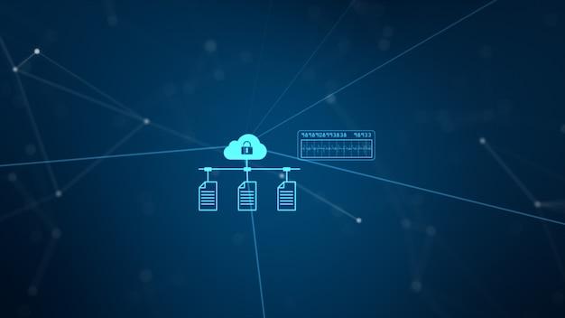 Rete tecnologica e connessione dati. secure data network e informazioni personali. Foto Premium