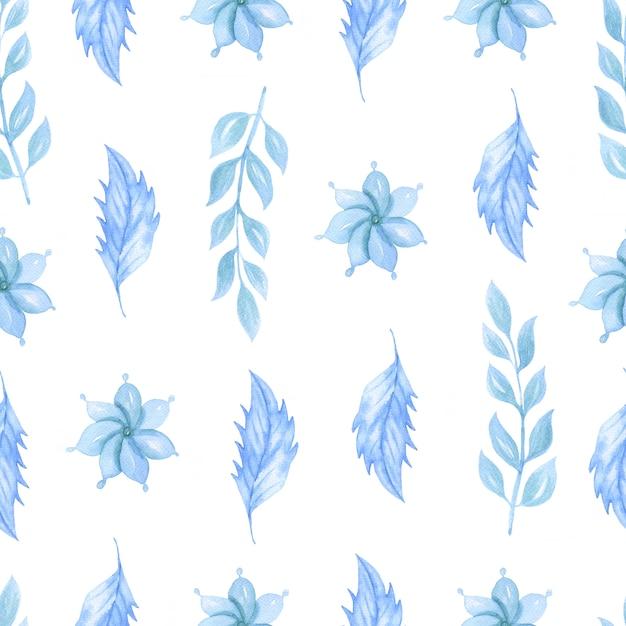 Reticolo senza giunte dell'acquerello con fiori blu Foto Premium