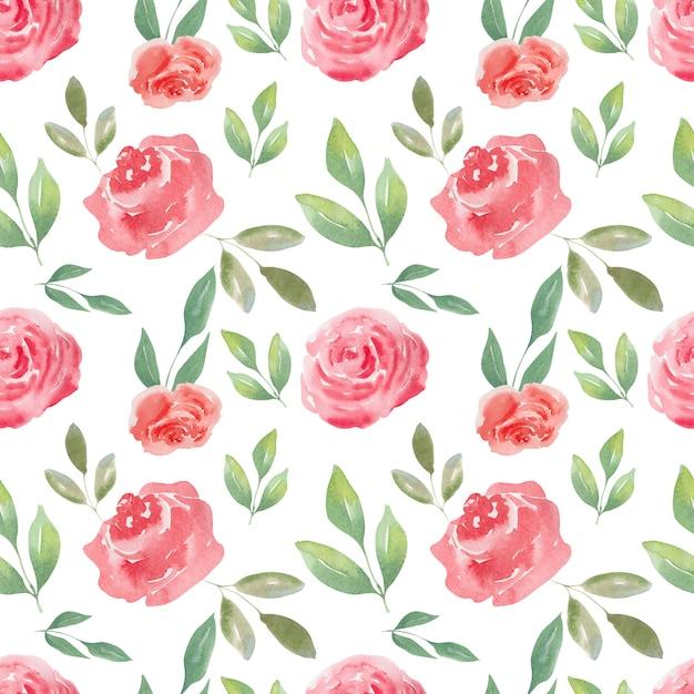 Reticolo senza giunte dell'acquerello di air rose e cuori. sfondo festivo Foto Premium