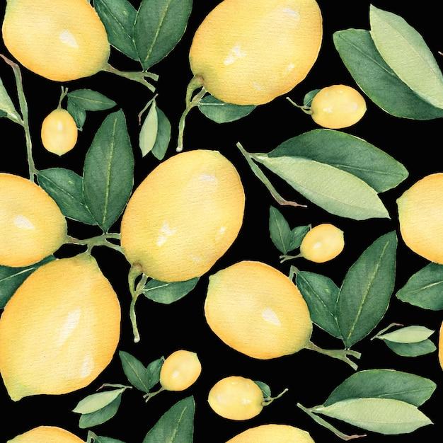 Reticolo senza giunte dell'acquerello, ramo di limone di frutta gialla agrumi freschi Foto Premium